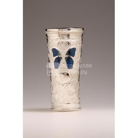 Guampa de Plata Forrada Con Apliques Esmaltados Mariposa